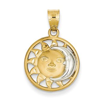 14k Yellow Gold & White Rhodium 17mm Sun and Moon Circle Pendant