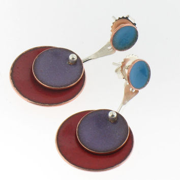 Enamel Circle Earrings in Red, Purple and Blue