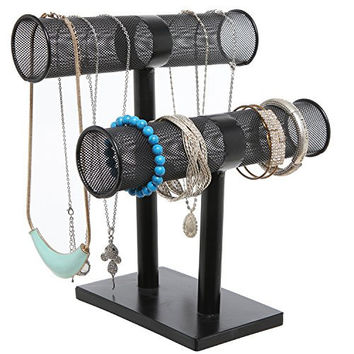 10 inch Black Double Tier Metal Wire Cylinder Jewelry Hanger / Earring & Bracelet Display Stand Rack