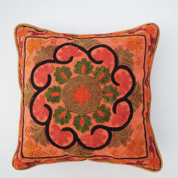 """Floral Suzani Embroidered Cushion Cover with Pom Pom, Lace Cushions,Pillow Cover, Decorative Suzani pillow Throw Suzani Cushion 16""""X16"""""""