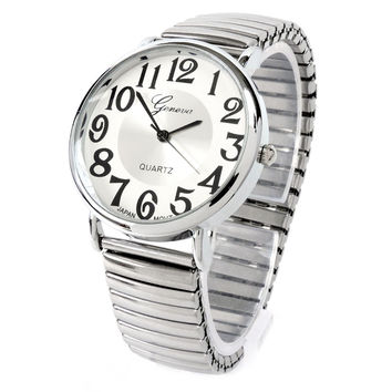 Silver Large Face Geneva Stretch Band Watch