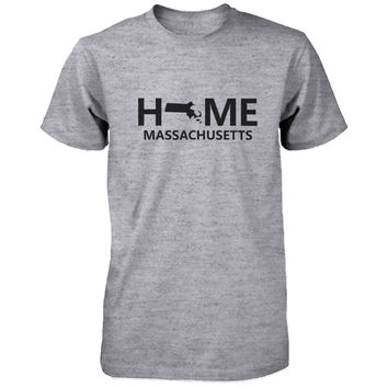 Home MA State Grey Men's T-Shirt US Massachusetts Hometown Tee