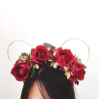 Belle of the Ball Rose Flower Crown - Wire Minnie Ears