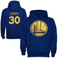 Majestic Stephen Curry Golden State Warriors Name & Number Pullover Hoodie - Royal Blue