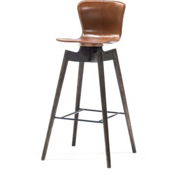 SHELL BAR STOOL - SADDLE LEATHER, SIRKA GREY OAK BASE