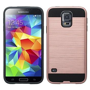 Galaxy S5 Case, Slim Hybrid Dual Layer[Shock Resistant] Armor Case for Samsung Galaxy S5 - Brush Rose Gold