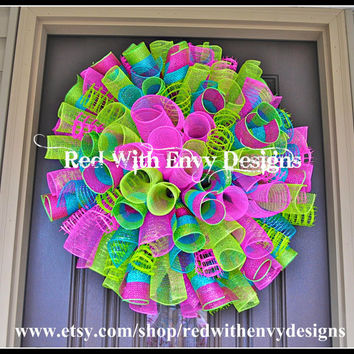 Spring Wreath, Valentine's Day Wreath, Wreath, Deco Mesh Wreath