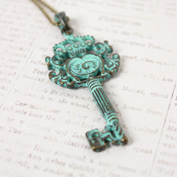 Antique Gold and Green Verdigris Patina Necklace - Vintage Style Jewelry - Large Key Necklace - Boho Jewelry - Skeleton Key