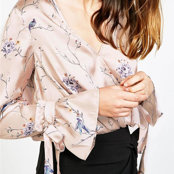 2017 Spring Floral Printted V-Neck Long Sleeve Tops Blouse Shirts [10454754575]