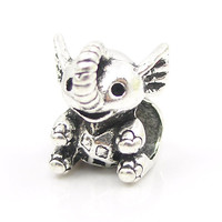 Lovely Little Elephant Silver Alloy Bead Charm Fit Pandora Women DIY Bracelets & Bangles Necklace