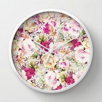 carpet of roses Wall Clock by Clemm
