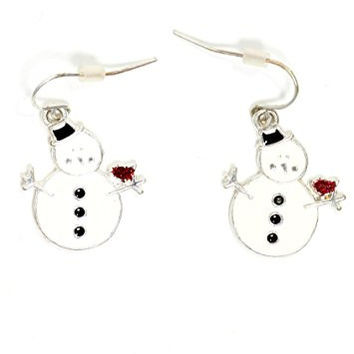 Winter Snowman with Cardinal Bird Dangle Earrings Vintage Gold Tone White Enamel EI34 Fashion Jewelry