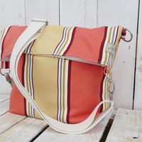 canvas tote stripes shopping bag modern everyday bag peach and yellow spring - summer fold over bag