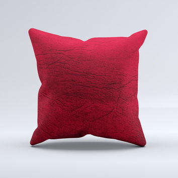 Rich Red Leather Ink-Fuzed Decorative Throw Pillow