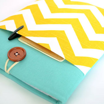 MacBook Air 13 inch Case MacBook Laptop Sleeve Case with Pocket, Padded - Yellow Chevron