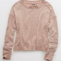 Aerie Chenille Crop Sweater, Cherry Blossom