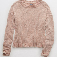 Aerie Chenille Crop Sweater, Smoked Gray