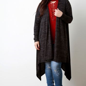 Marled Knit Draped Open Front Longline Cardigan