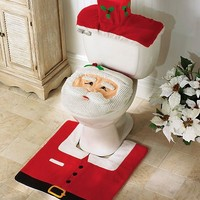 4 Pcs Christmas Bathroom Toilet Cover and Rug Set - Happy Santa