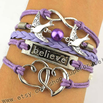 Heart bracelet, infinity bracelet, love birds bracelets, Believe bracelet, Believe bracelet, wax rope, purple leather, daily bracelets