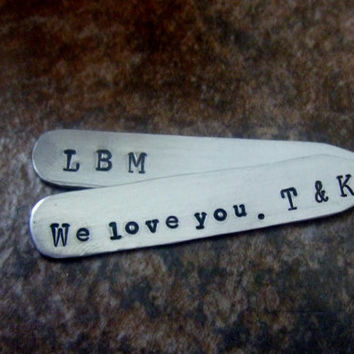Personalized Collar Stays-  Handstamped Silver Fathers Dad Daddy Men Groom  Groomsmen Anniversary Graduation