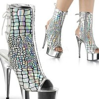 Silver Hologram Ostrich With Chrome Platform-Stripper Shoes