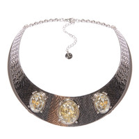 Circle collar necklace with faceted stones
