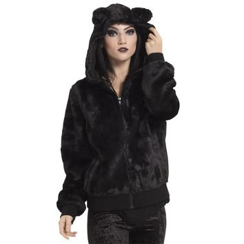 Black Fur Kitty Coat