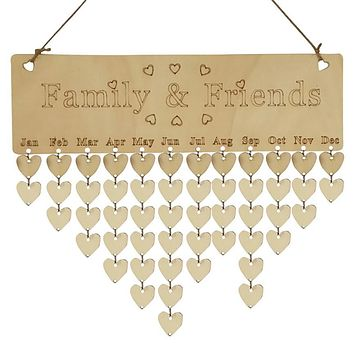 Wood Birthday Reminder Board Birch Ply Plaque Sign Family &Friends DIY Calendar 40cm*12cm Dropshipping &925