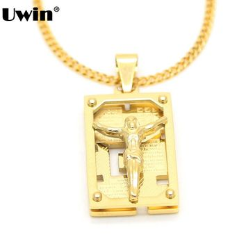 Men's Stainless Steel Gold Color Lord's Prayer&Crucifix Jesus Piece Christ Dog Tag Pendant Necklace Cuban Chain Hiphop Necklace