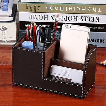 yazi 3 Cells PU Leather Storage Box Desk Organizer Stationery Phone Holder Office Home Decor 4 Color