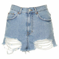 MOTO Bleach Ripped Mom Shorts - Bleach Stone