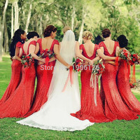 Sparkly Red Sequin Bridesmaid Dresses 2016 Wedding Party Dress For Guest Vestidos de festa longo Sheath Women