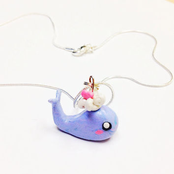 Cute Whale Necklace, kawaii polymer clay necklace, clay whale pendant, tiny animal necklace, cute animal jewelry, little girls jewelry