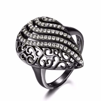 Ebony Swirl Black Gold Filigree and CZ Cocktail Ring