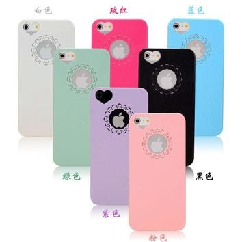 Cute candy Color Loving Heart Flower Lace Hard Phone Case Cover For iPhone 5 5s SE 6 6s 7 mobile phone cases capa Coque