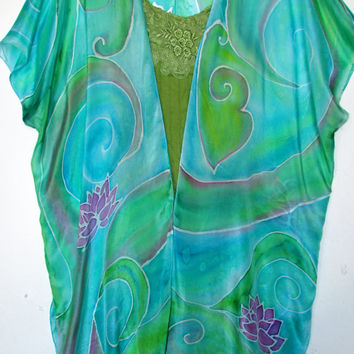 "silk robe, ""Serenity"", silk top, silk cover up, goddess clothing, yoga clothing, wiccan clothing, pagan clothing, silk jacket"