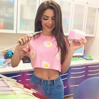 Pink Egg Print Short Sleeve Crop Top