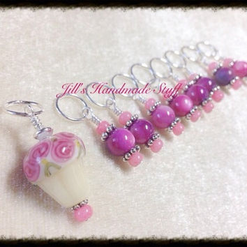Stitch Markers- Snag Free Knitting Tools- Beaded Cupcake Stitch Marker Set- gift for knitters