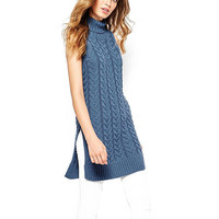 Cable Knit Turtleneck Sleeveless Sweater