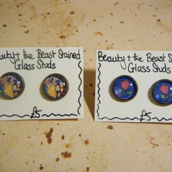 Beauty and the Beast Stained Glass Stud by KawaiiCandyCouture