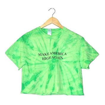 Make America High Again Lime Green Tie-Dye Graphic Unisex Crop Top