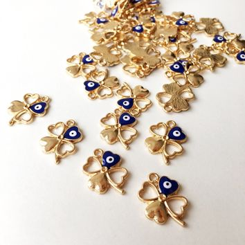 5 pcs Four leaf clover evil eye pendant, gold clover beads