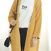 Yellow Pocket Detail  Cardigan