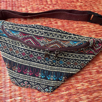 Ethnic Fanny pack festival waist boho bag Ethnic tribal style pattern fabric belt belly Pouch Travel phanny waist Ikat Hippies Bohemian red