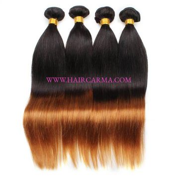 New Arrival Ombre Silk Straight Peruvian Hair Bundles 12-24inch In Stock 100% Unprocessed Virgin Peruvian Human Haie Striaght Hair 4 Bundles/pack ,Hair Can Be Dyed And Bleached