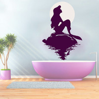 Wall Decals Mermaid Sun Decal Vinyl Sticker Bathroom Window Nursery Children Bedroom Hall Home Decor Dorm Interior Art Murals MN521