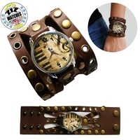 New Womens Leather Stainless Steel Quartz Wrist Watch 38mm Piano Roll Brown Band