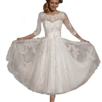 Lace Short Tea Length Wedding Dresses for Bride Formal Gowns with 3/4 Sleeve