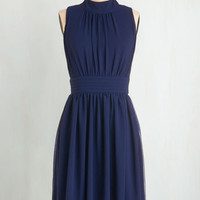 Mid-length Sleeveless A-line Windy City Dress in Navy